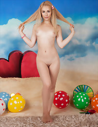 Tow-haired girl with balloons blackteengalleries